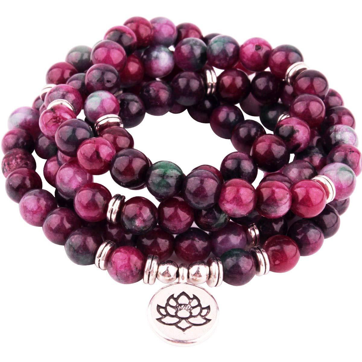 GVUSMIL 108 Mala Beads Wrap Bracelets Charm Natural Gemstone Colorful Mala Bead Bracelet by GVUSMIL