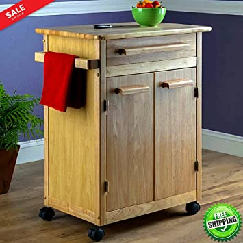 Kitchen Island Storage Cabinet Wooden Portable Cart Rolling 2 Storage Cabinets u0026 Pull Out Drawer Heavy & Amazon.com: Kitchen Island Storage Cabinet Wooden Portable Cart ...