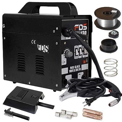 COSTWAY Máquina de Soldadura FLUX Gas Inerte MIG 130 Electrodos Soldador (Negro)