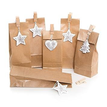 Christmas Box Set Of 6 Christmas Bags Small Brown Paper Bag 7 X 4 X