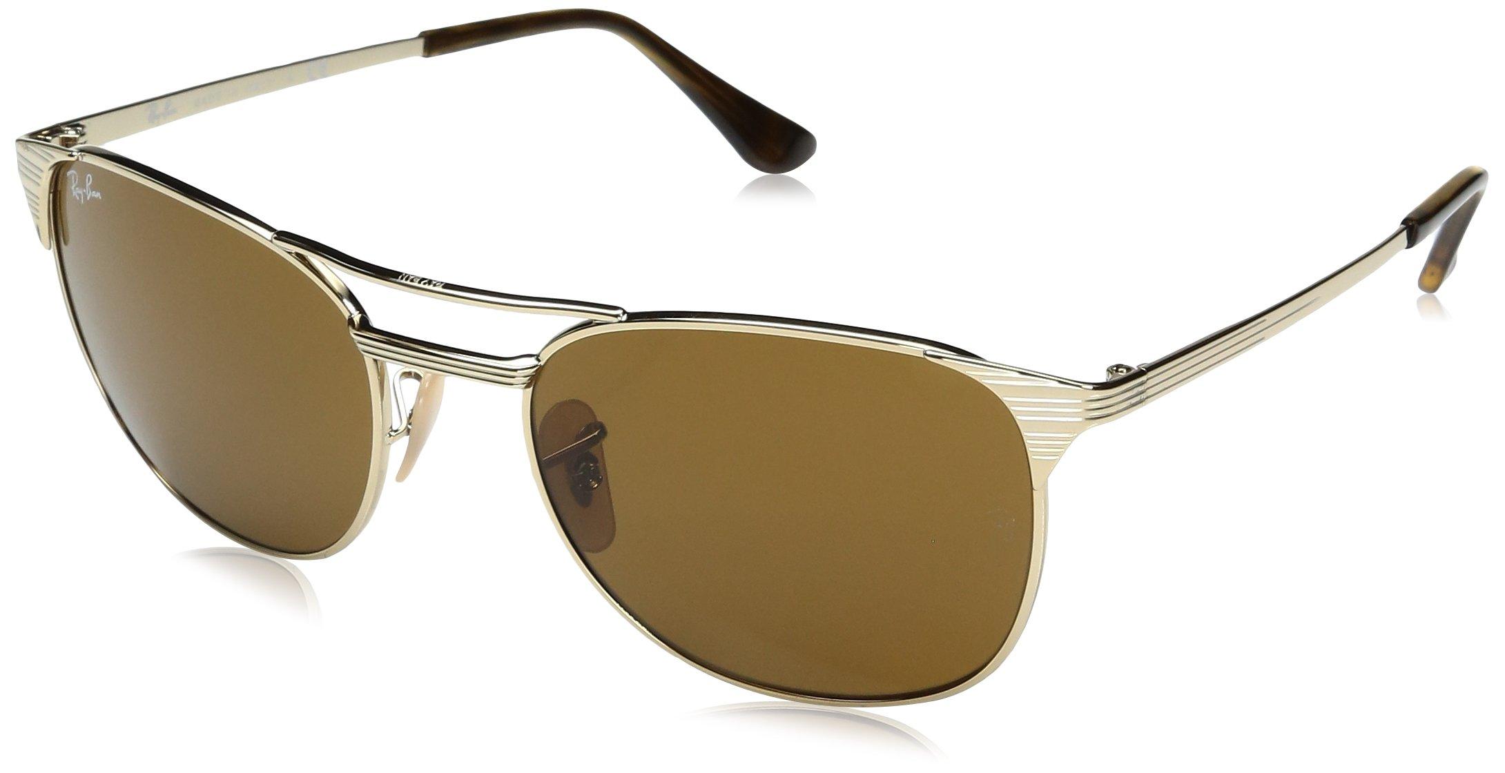 Ray-Ban Men's Metal Man Square Sunglasses, Gold/Brown, 58 mm