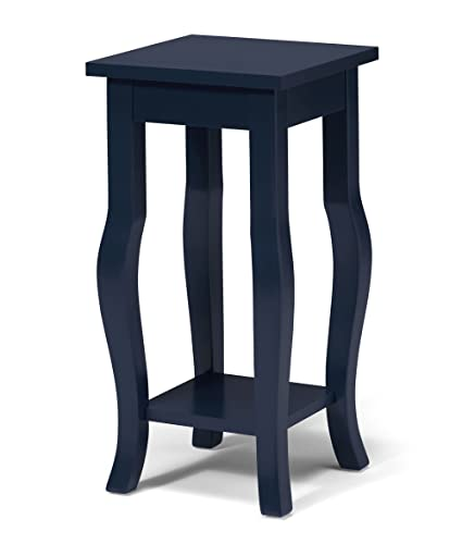 Bon Kate And Laurel Lillian Wood Pedestal End Table Curved Legs With Shelf,  Navy Blue