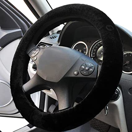 amazon com black sheepskin steering wheel cover zone tech plush