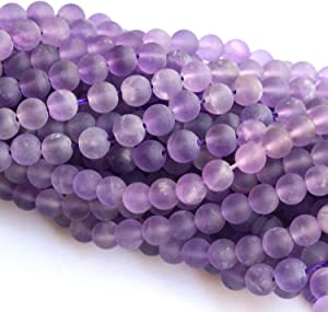 Tacool Natural Gemstone Beads Round 8mm 6mm for DIY Necklace Jewelry Making Beads (Amethyst, Matte 6mm)