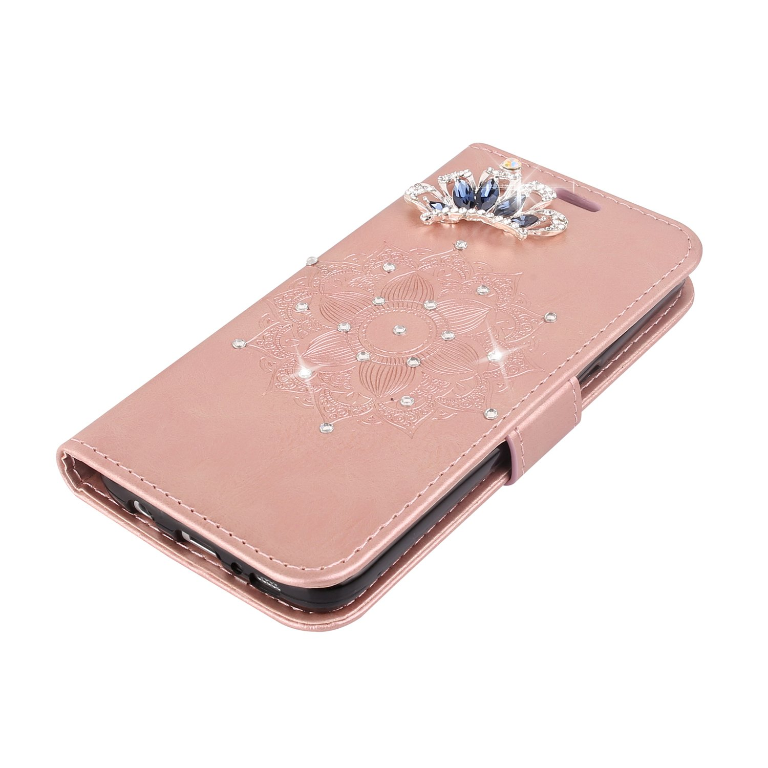 IKASEFU LG G4 Case,Clear Crown Rhinestone Diamond Bling Glitter Wallet with Card Holder Emboss Mandala Floral Pu Leather Magnetic Flip Case Protective Cover for LG G4,Rosa Gold by IKASEFU (Image #4)