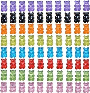 80 Pcs Candy Gummy Bear Charms Resin Bear Pendants for DIY Crafting Slime Dollhouse Decoration