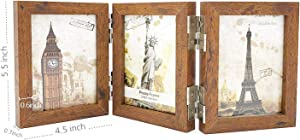 UILB Wooden Folding Picture Frames 3.5x5 with Acrylic - Hinged Triple Picture Frames- Tabletop Frames (Brown)