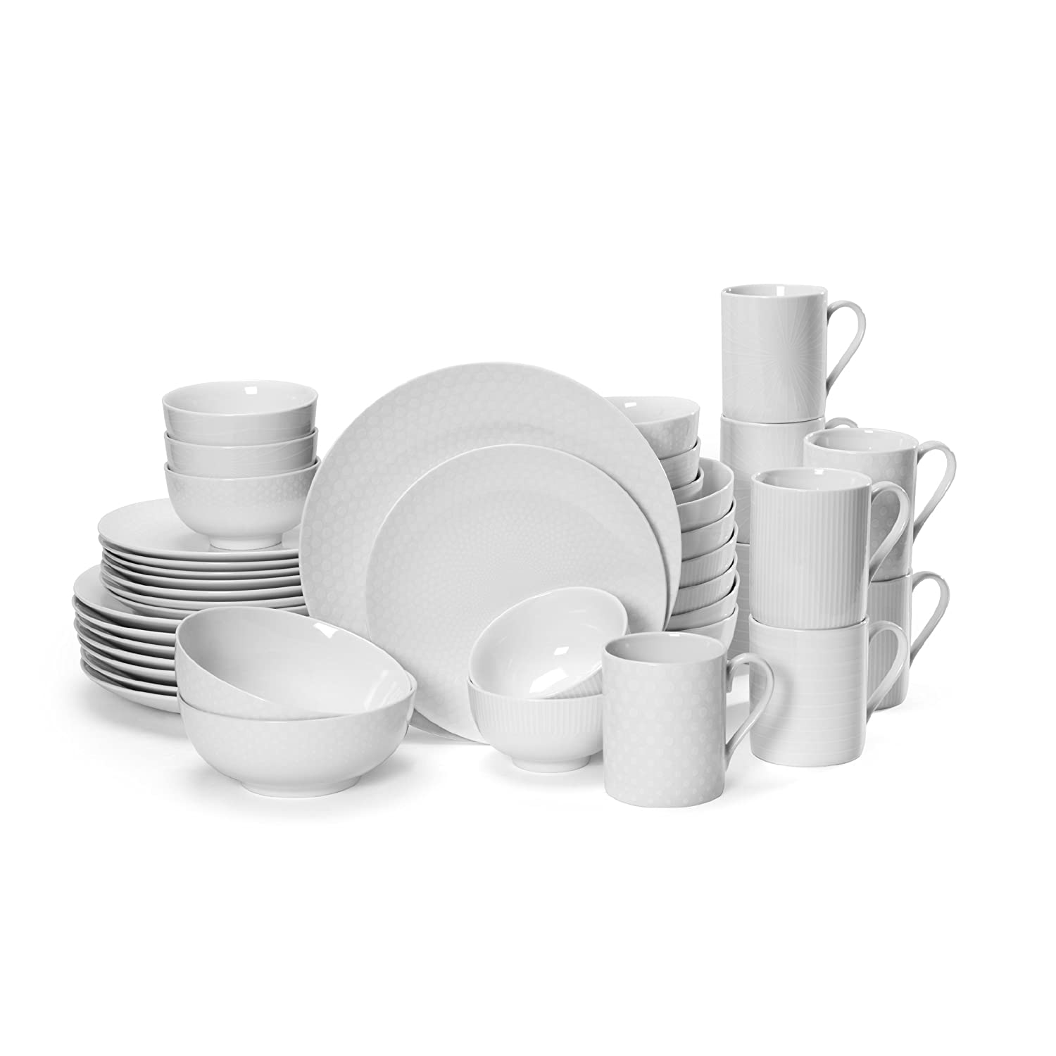 amazoncom mikasa cheers white 40piece cheers dinnerware set service for 8 kitchen u0026 dining - White Dinnerware Sets