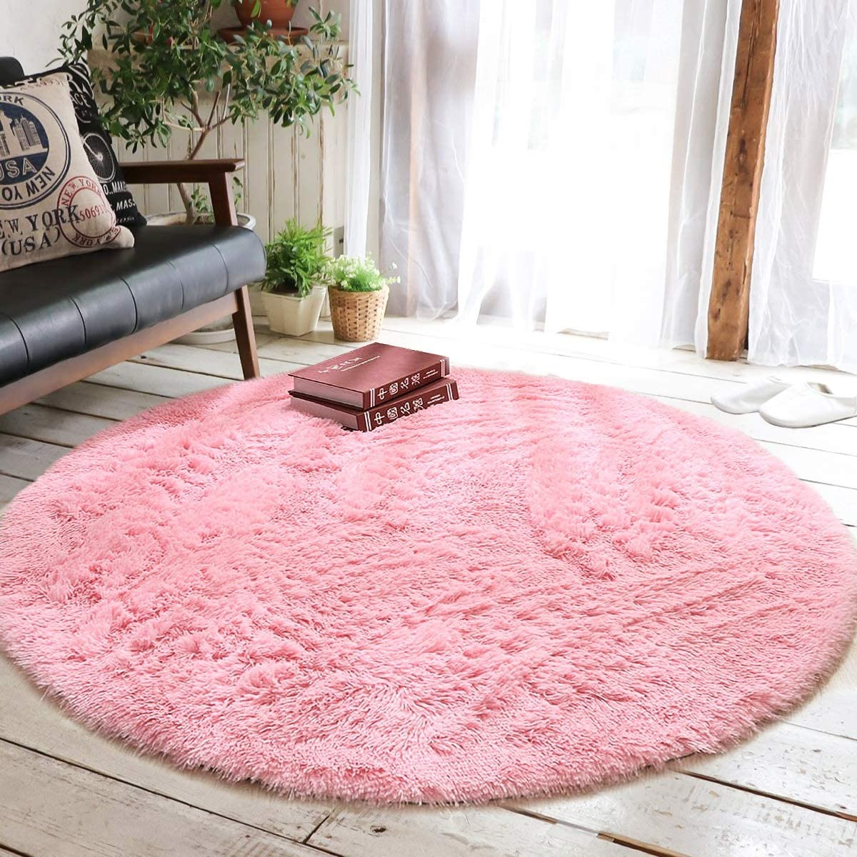 Junovo Round Fluffy Soft Area Rugs for Kids
