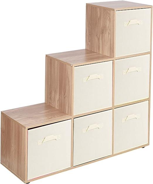 URBNLIVING Estantería de 6 cubos en forma de escalera con 6 cajones, Cream Drawers, Oak 6 Cubes: Amazon.es: Hogar