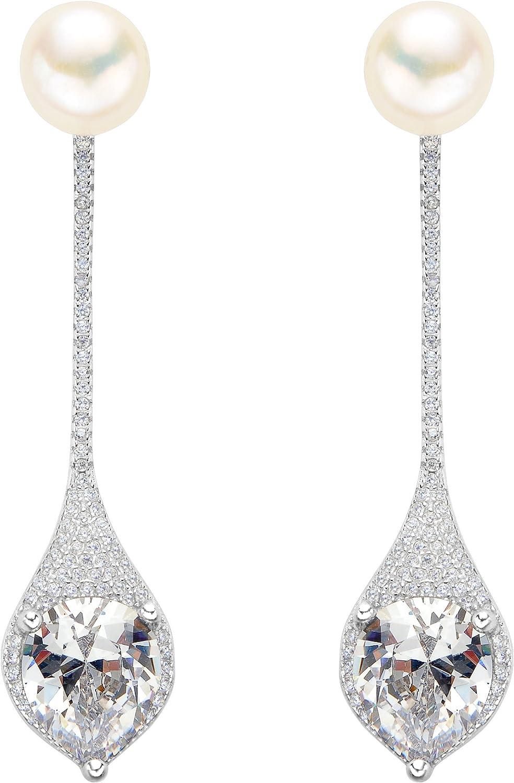 EVER FAITH Mujer Plata de ley 925 Pendientes con perla y doble gota adornada para novia