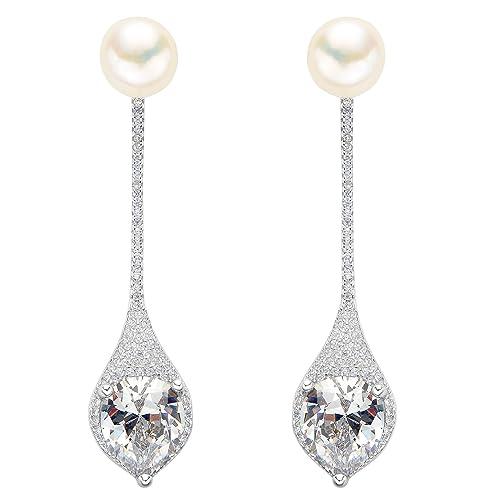 diseño encantador compra venta super barato se compara con EVER FAITH Mujer Plata de ley 925 Pendientes con perla y doble gota  adornada para novia