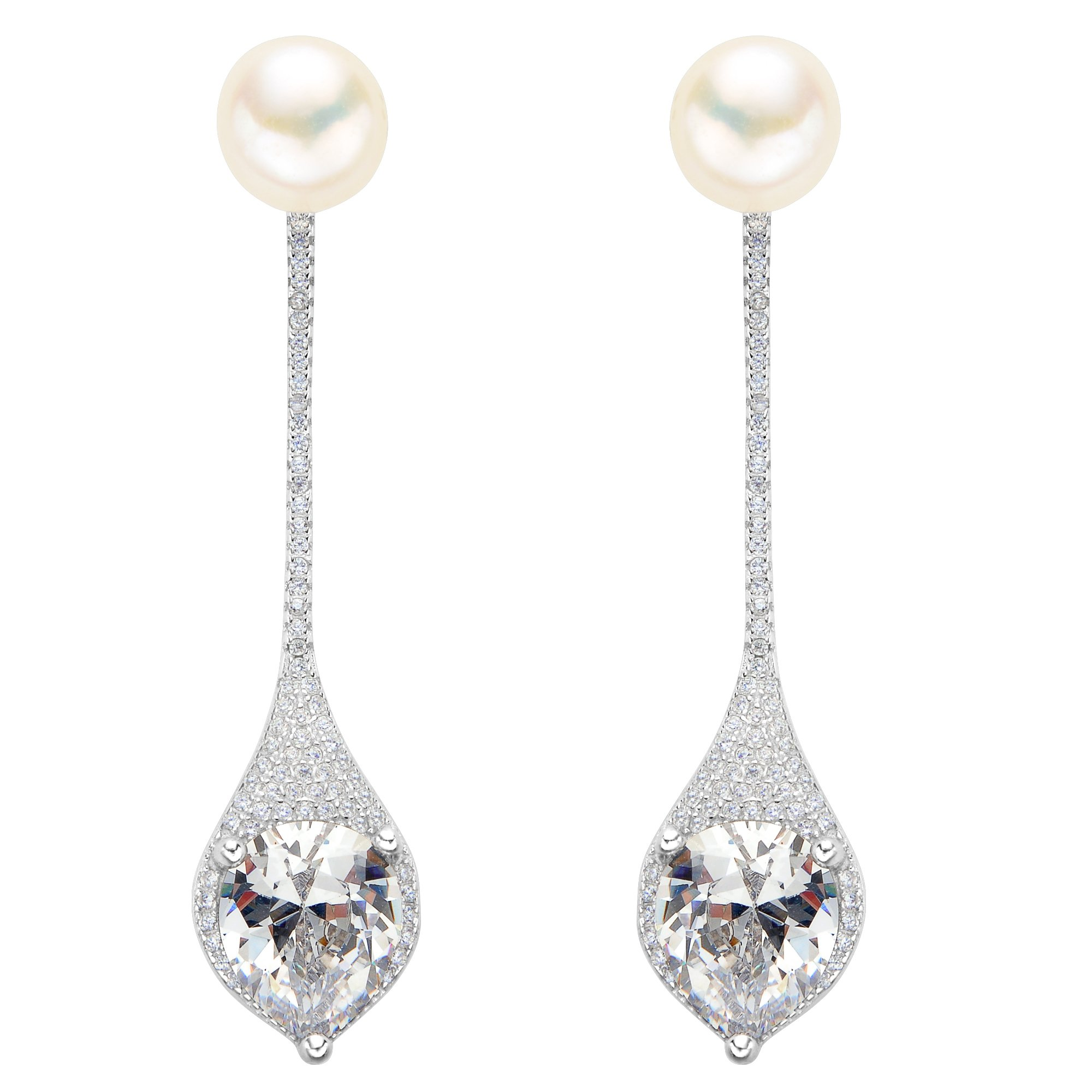 EVER FAITH 925 Sterling Silver CZ 9MM AAA Freshwater Cultured Pearl Elegant Drop Ear Jacket Earrings