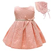 Greatop Baby Girls Dress Christening Baptism Party Formal Dress (Pink, 12M/12-15Month)