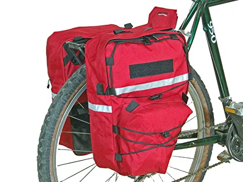 Bushwhacker Cimmaron Red - Bicycle Pannier w/ Reflective Trim Cycling Rack Bag Bike Rear Pack Accessories Frame