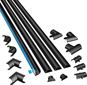 D-Line Black Medium Cord Cover Kit, 13FT Self-Adhesive Wire Hider, Cable Raceway to Hide Wires on Wall, Cable Management - 4 x 39in Lengths and Accessories