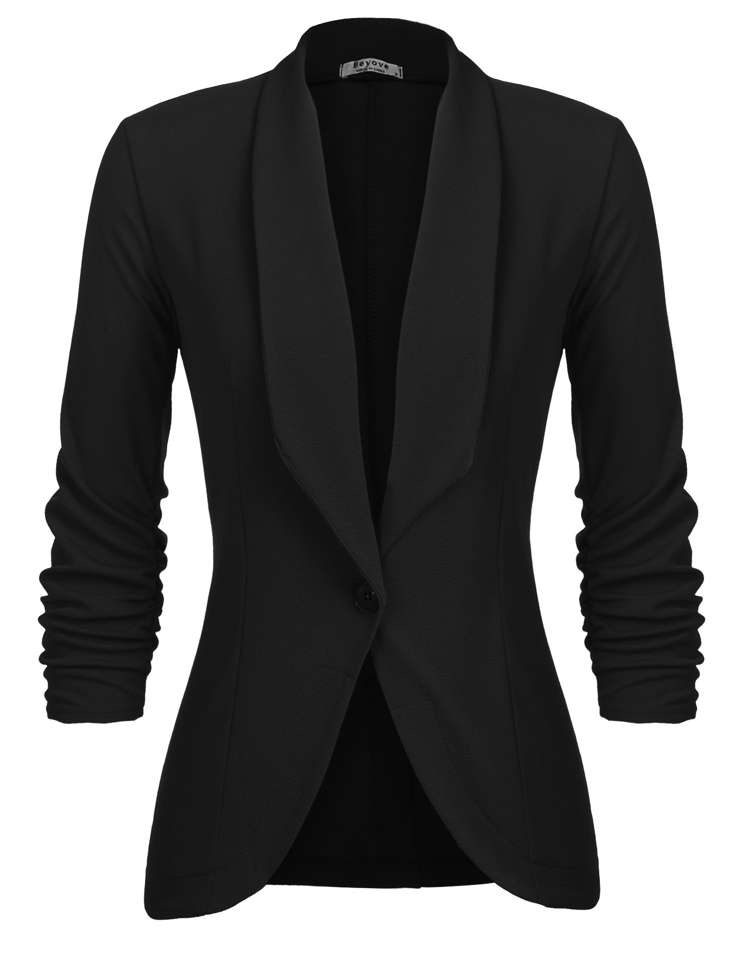 Beyove Women's 3/4 Sleeve Blazer Open Front Cardigan Jacket Work Office Blazer Black XXL