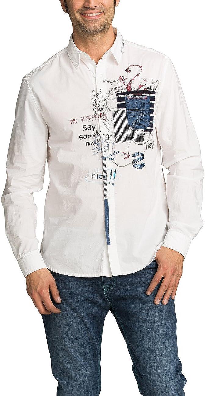 Desigual CAM_In Nova Camisa, Blanco, S para Hombre: Amazon.es: Ropa y accesorios