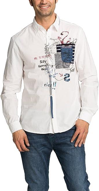Desigual CAM_In Nova Camisa, Blanco, S para Hombre: Amazon.es ...