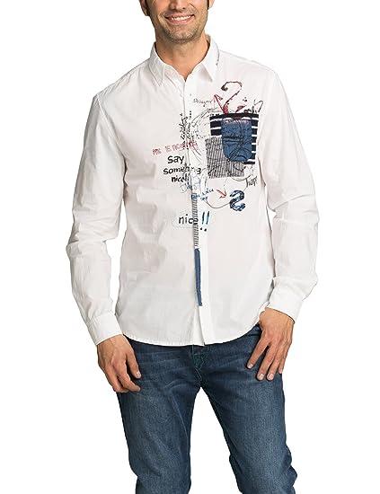 Desigual CAM_In Nova, Camisa para Hombre, Blanco S: Amazon.es ...