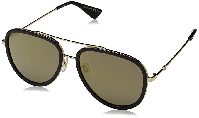 f4430fc6885 Amazon.com  Gucci GG0062S Sunglasses - 57MM (Gold Black