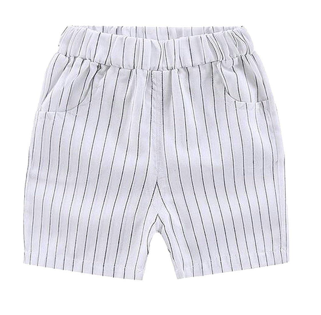 Wopop Toddler Boy Printed Pull On Summer Stripe Stylish Linen Swim Trunks Shorts