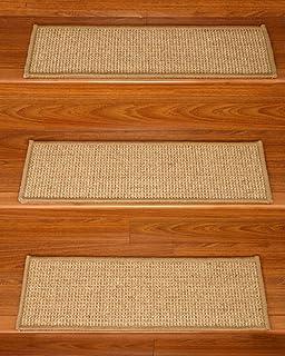 NaturalAreaRugs Soho Sisal Carpet Stair Treads, 100% Sisal, Sage Serged  Cotton Border,