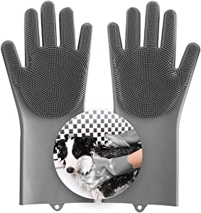 Aufew Magic Pet Grooming Gloves Dog Bathing Scrubber Gloves, Heat Resistant Eco-Friendly Silicone Hair Removal Gloves with High Density Teeth for Cats, Dogs