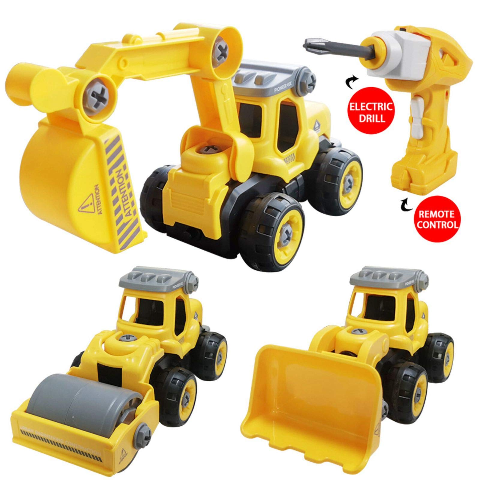 SZJJX 3 in 1 Construction Truck Take Apart Toys with Electric Drill