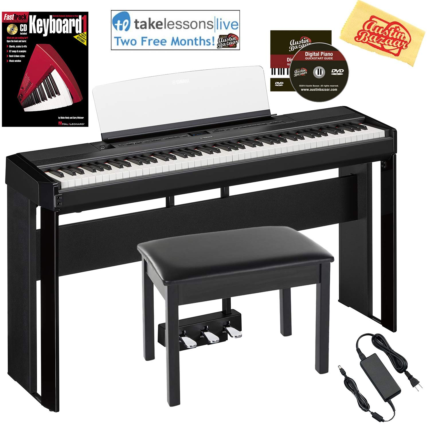 Yamaha P-515 88-Key Digital Piano - Black Bundle with Yamaha L-515 Stand, LP-1 Pedal, Furniture Bench, Dust Cover, Instructional Book, Online Lessons, Austin Bazaar Instructional DVD, and Polish Cloth P515B-COMBO-PRO