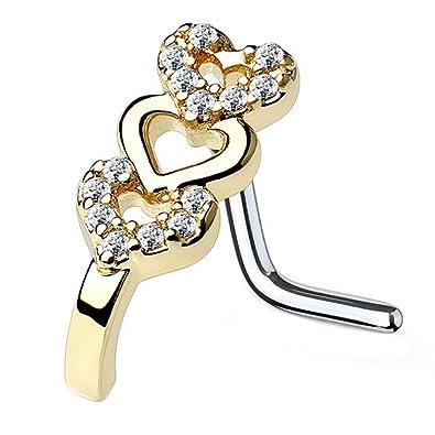 Triple Heart Yellow Gold Ip Simulate Diamond L Shape Bent Nose Piercing Stud 20g Jewelry & Watches Engagement & Wedding