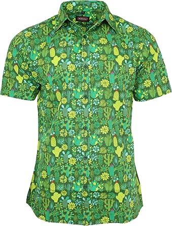 Run & Fly - Camiseta de Manga Corta para Hombre, diseño de Cactus, Color Verde: Amazon.es: Ropa y accesorios