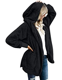389566757a Vetinee Women Casual Fuzzy Fleece Hooded Cardigan Pocket Faux Fur Outerwear  Coat