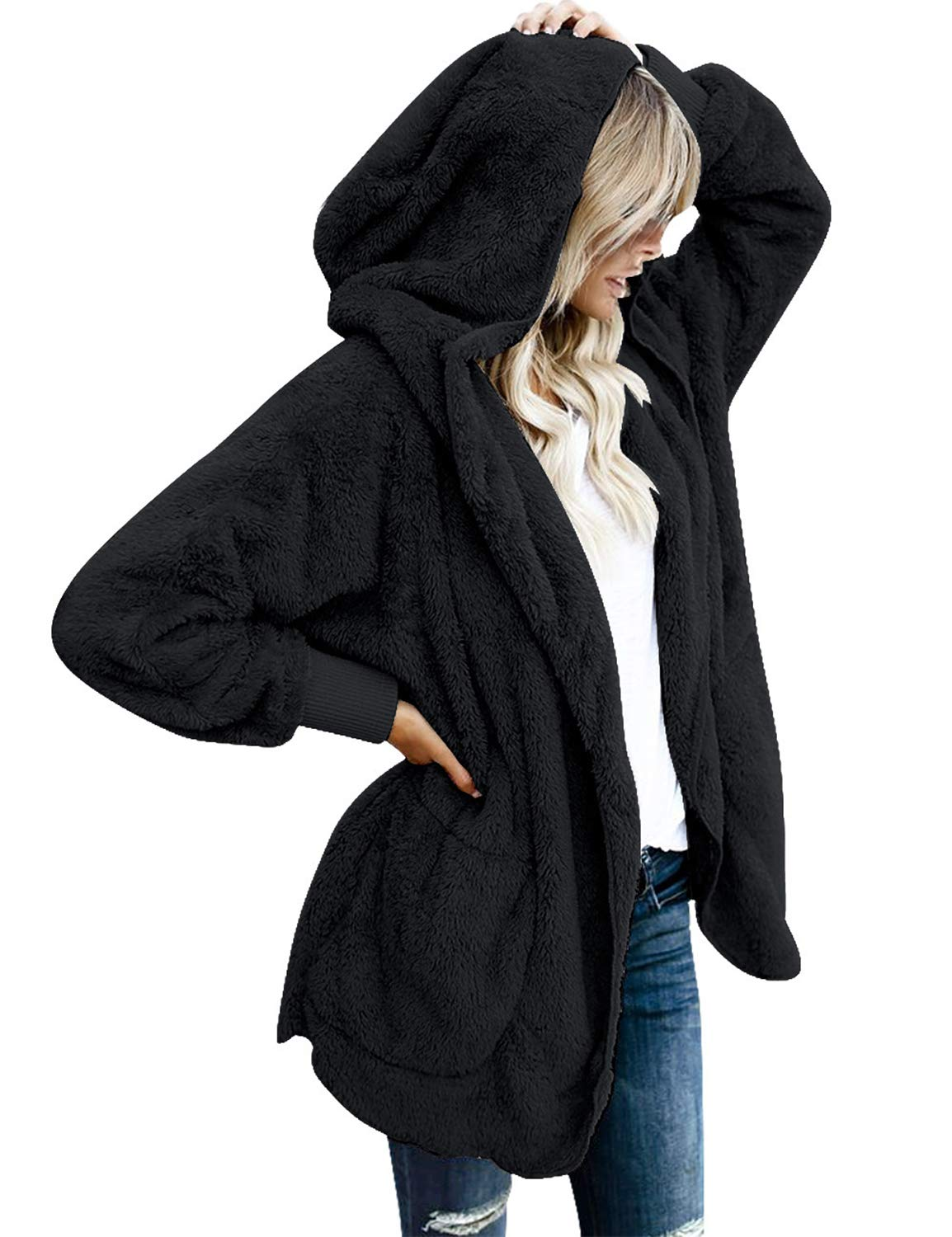 Vetinee Women's Casual Draped Open Front Hooded Cardigan Pockets Oversized Coat Black Size Medium (fits US 8-US 10)