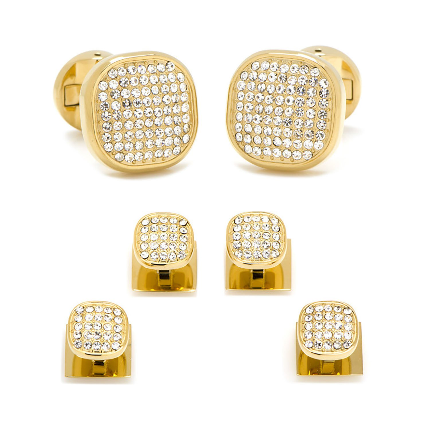 Gold Stainless Steel White Pave Crystal Stud Set by Ox and Bull Trading Co Cufflinks