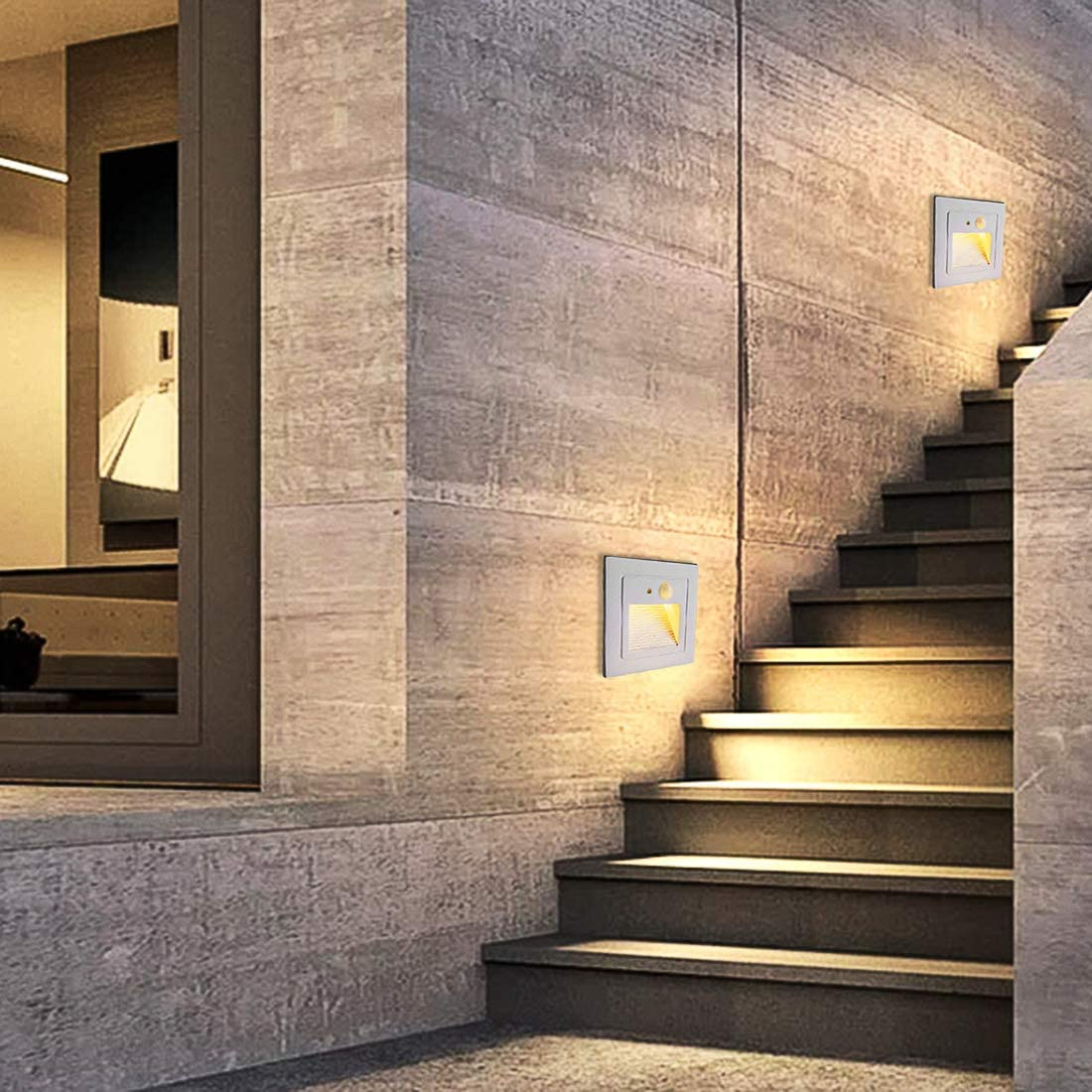 2 Pack Warm Withe 3W Wall Recessed Stair Lights Elitlife Motion Sensor LED Stairs Step Night Light Indoor//Outdoor Wall Recessed Garden Kitchen Plinth Patio Stairway Lighting Guide Lamp