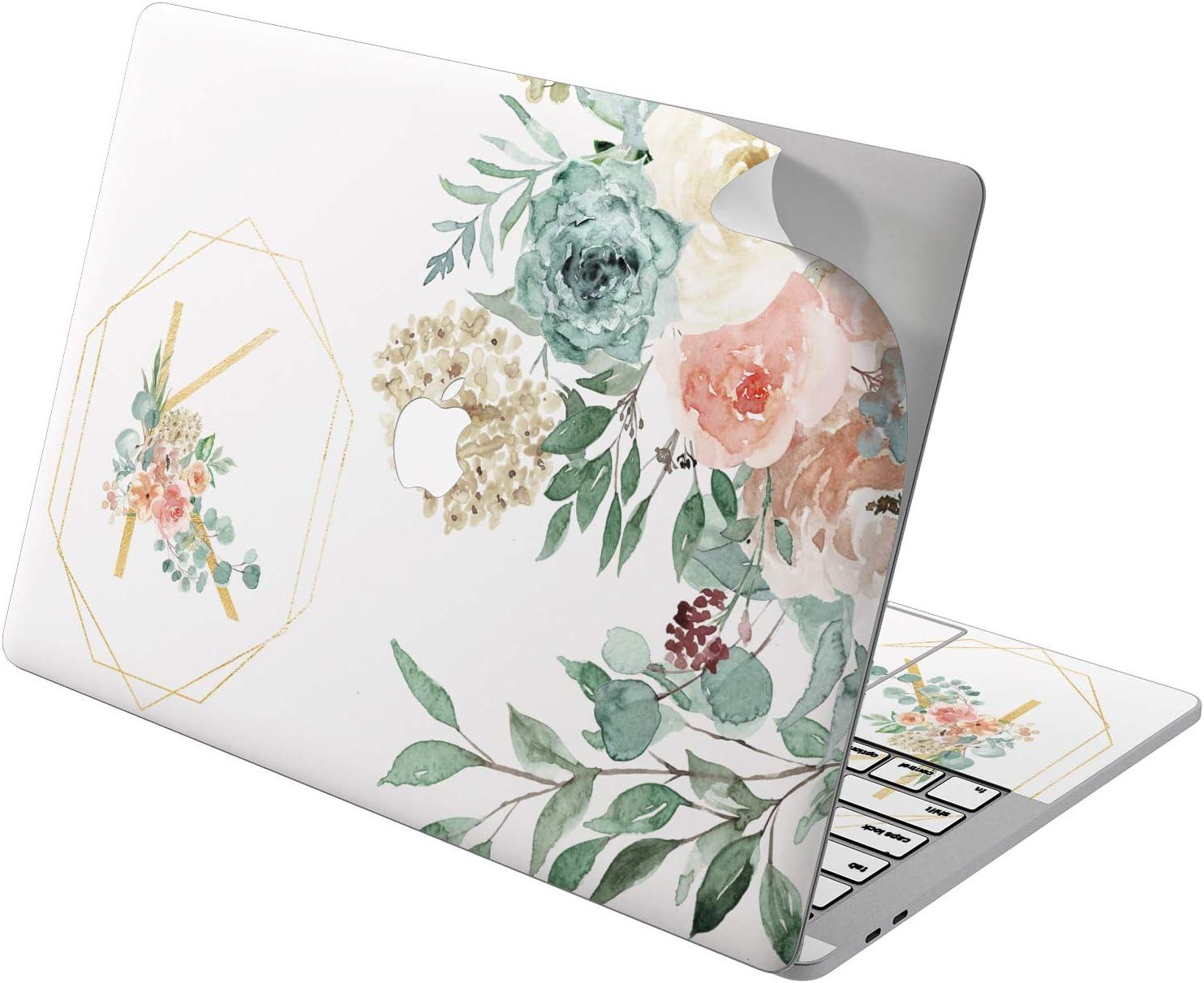 "Cavka Vinyl Decal Skin for Apple MacBook Pro 13"" 2019 15"" 2018 Air 13"" 2020 Retina 2015 Mac 11"" Mac 12"" Sticker Watercolor Peonies Cover Design Laptop Flowers Print Name Monogram Protective Custom"