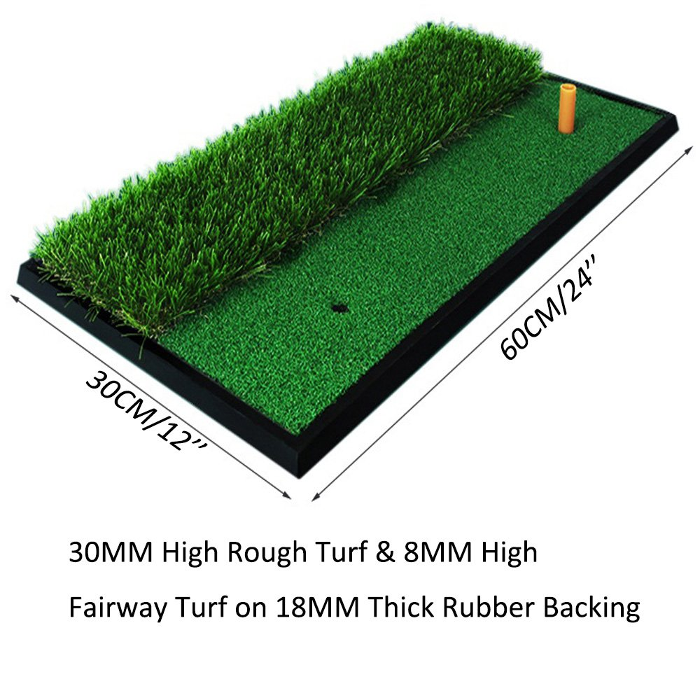 Foxcesd Golf Mat, Golf Hitting Mat with Realistic Fairway & Rough Portable Golf Practice/Training Turf Mat Mini Golf Green Grass Putting Mats for Indoor and Outdoor Golf Sports 12'' x 24'' by Foxcesd (Image #3)