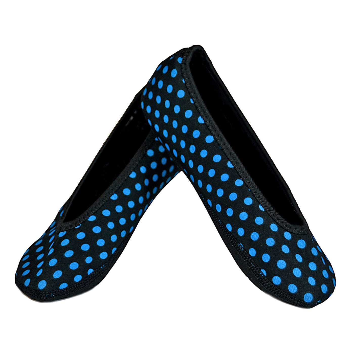 Nufoot Ballet Flats Women's Shoes Best Foldable & Flexible Flats Slipper Socks Travel Slippers & Exercise Shoes Dance Shoes Yoga Socks House Shoes Indoor Slippers Black with Blue Polka Dots Medium