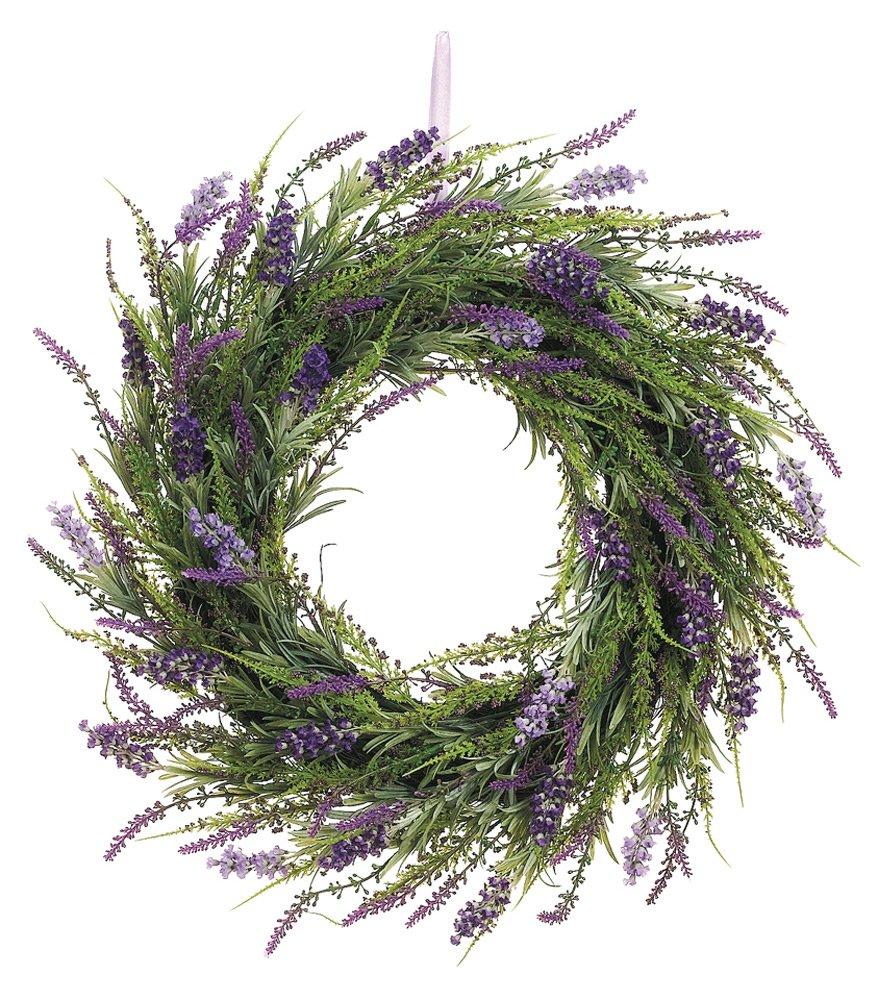 20 Inch Artificial Lavender Wreath On Twig Base