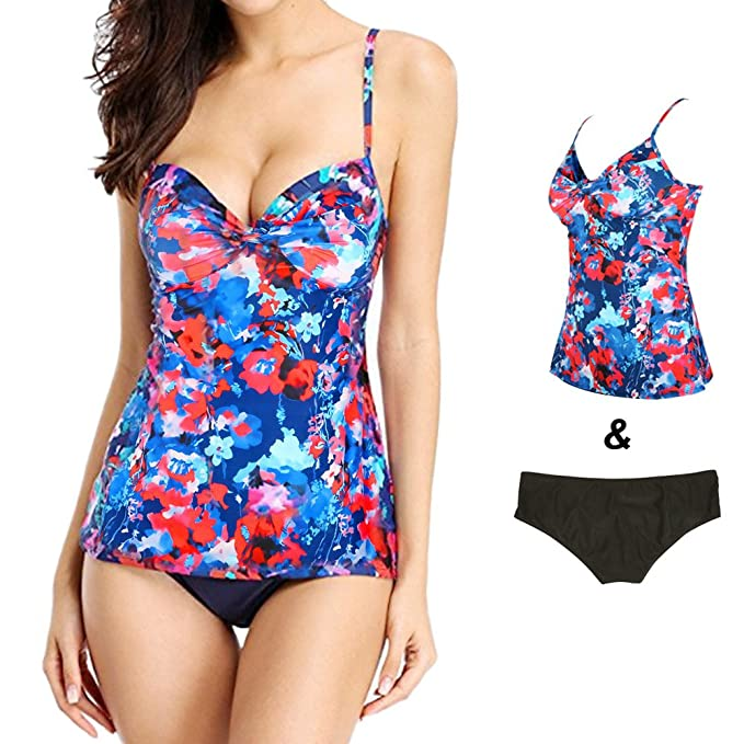 bfae2c5896696 Womens Swimsuit Printed Bikini Bathing Suits Tankini Set Two Piece (US10,  Blue)