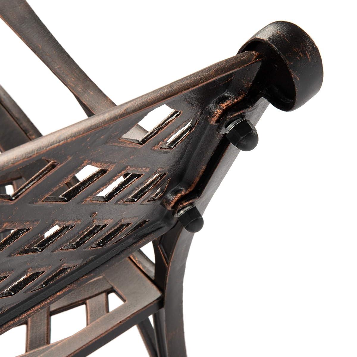 Patio Sense Antique Bronze Cast Aluminum Patio Bench