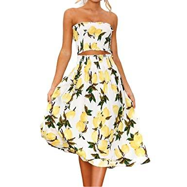 960c84fce3 Jahurto Women Floral Print Two Piece Crop Tube Top+High Waist Pleated Skirt  Set Outfit