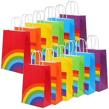 Amazon.com: Cooraby 24 bolsas de papel arcoíris para fiestas ...