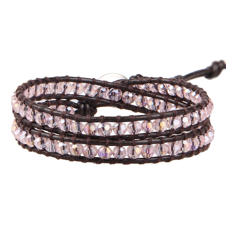 KELITCH Crystal Gems Beaded 2 Wrap Bracelets Handmade Boho Charm Bangle AZ2W-00011K