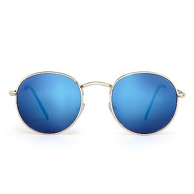 JIMHALO Gafas de Sol Redondas Pequeña Polarizadas Lente Retro Espejo Círculo Marco de Metal Hombre Mujer