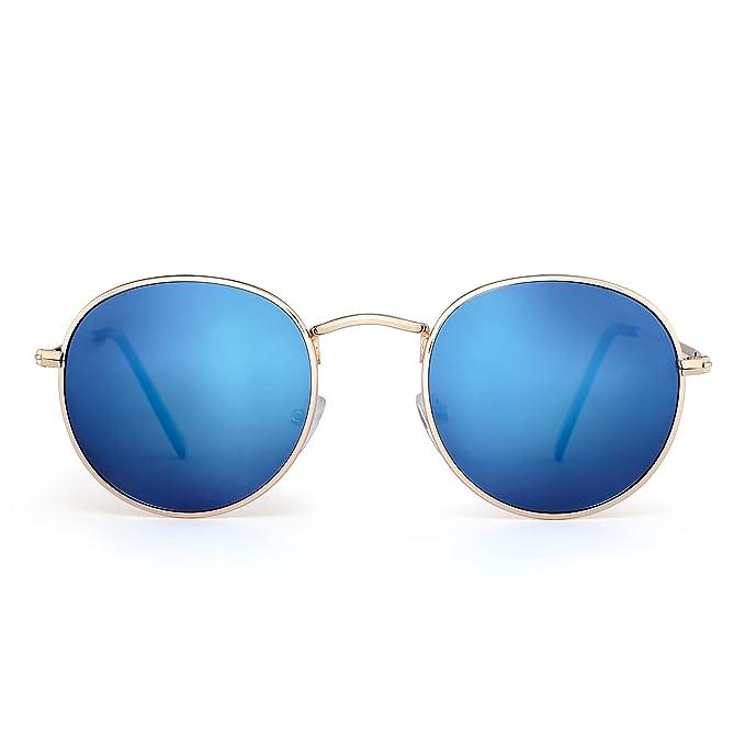 JIM HALO Gafas de Sol Redondas Pequeña Polarizadas Lente Retro Espejo Círculo Marco de Metal Hombre