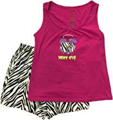 41438079d15d82 Womens Wake Up Alarm Clock Tank Top Pajamas Zebra Animal Print Shorts Sleep  Set