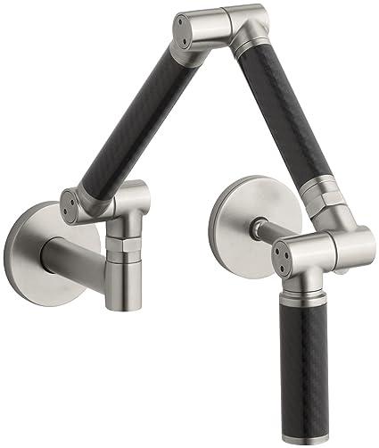 KOHLER K-6228-C12-VS Karbon Wall-Mount Kitchen Faucet with Black ...