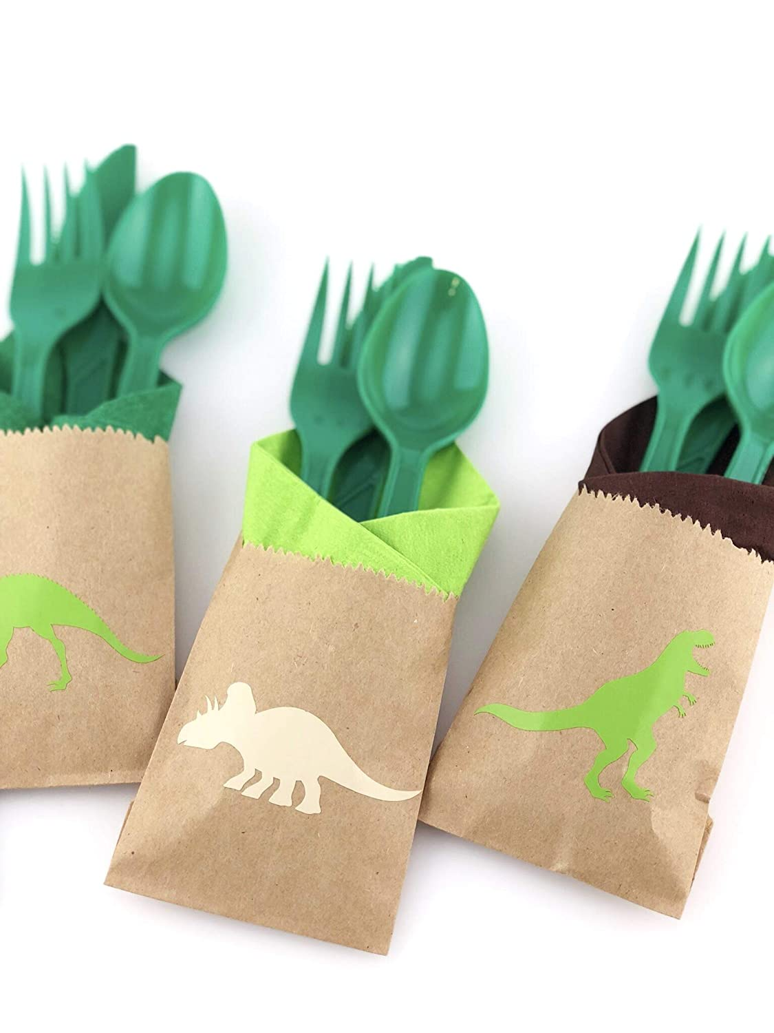 Dinosaur Party Cutlery Set 24ct Birthday Supplies Favors for Kids Napkin Bags